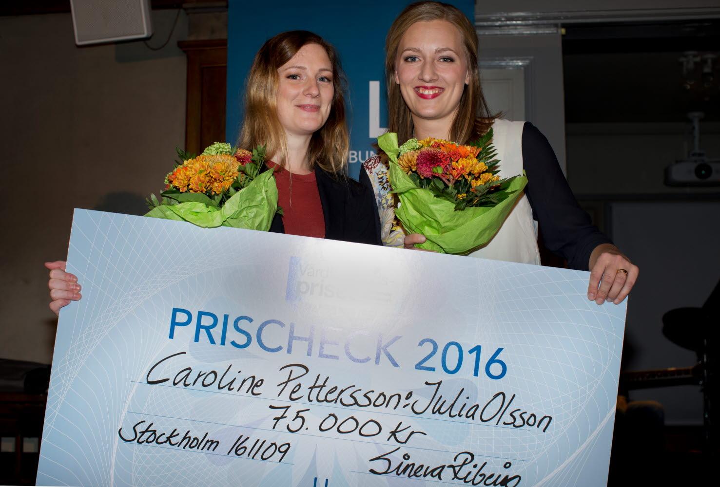 Caroline Pettersson och Julia Olsson, Vårdförbundspriset Vårdgalan 2016