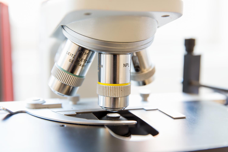 Närbild på prov i mikroskop. Unilabs, laboratorium.