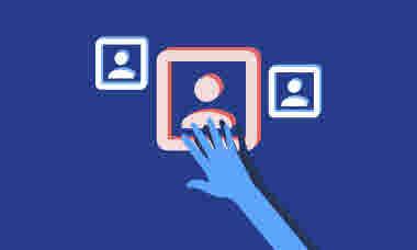 Illustrationer för årsmöte  Hand på markerad ruta som ska illustrera att den personen väljs eller röstas på