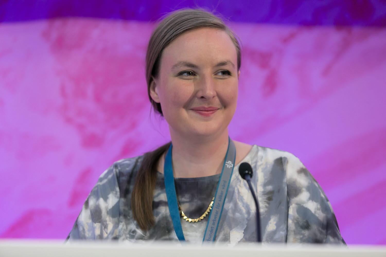 Förbundssekreterare Rebecca under kongressen 2018.